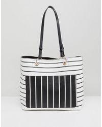 Miss Selfridge - Mixed Stripe Tote Bag - Lyst