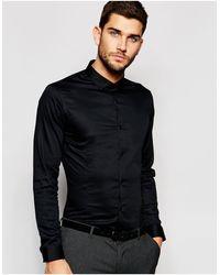 Jack & Jones – Hochwertiges, elastisches Hemd mit schmaler Passform - Schwarz
