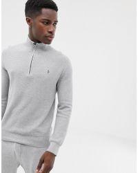 Polo Ralph Lauren Jersey de algodón pima texturizado con media cremallera en gris marga