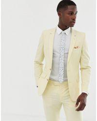 ASOS Wedding Skinny Suit Jacket In Yellow