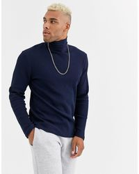 ASOS Long Sleeve Waffle Roll Neck - Blue