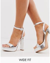 ASOS Wide Fit Nutshell Platform Barely There Heeled Sandals In Silver Snake - Multicolour