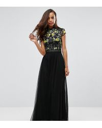 Frock and Frill - Embellished Top Maxi Dress With Mandarin Collar Detail - Lyst