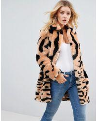 Barneys Originals - Leopard Mix Faux Fur Coat - Lyst