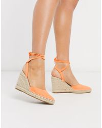 Truffle Collection Heeled Tie Leg Espadrille Wedges - Orange
