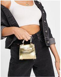 Truffle Collection Micro Mini Metallic Croc Grab Bag With Chain