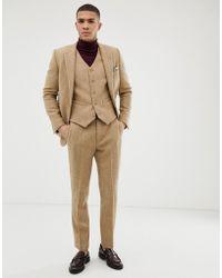 ASOS Wedding Slim Suit Pants In 100% Wool Harris Tweed In Camel - Natural