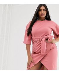 Boohoo Exclusive Wrap Midi Dress With Kimono Sleeve And Belted Waist In Pink