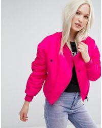 Cheap Monday Asymmetric Bomber Jacket - Pink