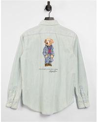 Polo Ralph Lauren Голубая Рубашка Из Ткани Шамбре На Пуговицах С Фирменным Принтом Медвежонка -голубой - Синий