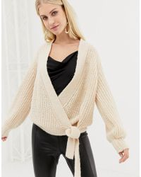 Y.A.S Knitted Wrap Cardigan - Natural