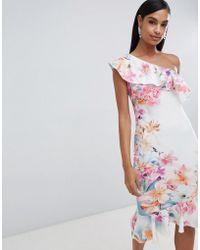Lipsy - Floral One Shoulder Pephem Dress - Lyst