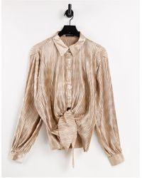 In The Style X elle darby - chemise oversize d'ensemble nouée sur le devant - taupe - Multicolore