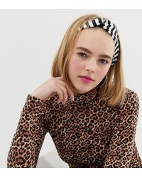 Monki - Mono Stripe Satin Headband - Lyst