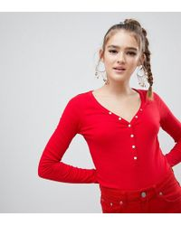 New Look - V Neck Top With Popper Detail In Red - Lyst