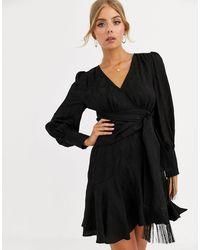 Forever New Черное Платье Мини С Запахом И Завязкой -черный