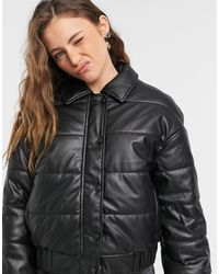 NA-KD X Chloe B Padded Faux-leather Jacket - Black