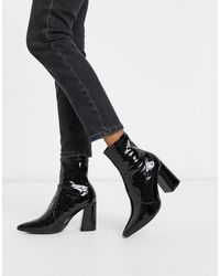 New Look Patent Pu Heeled Pointed Sock Boots - Black