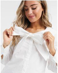 Monki Saga Collar Bow Detail Blouse - White