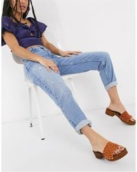 Bershka – Mom-Jeans - Blau