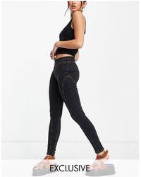 Collusion X001 - jeans skinny neri con cuciture decorative - Blu