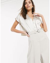 River Island Satin Cape Sleeve Jumpsuit - White