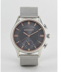 ASOS - Design Mesh Watch In Silver With Rose Gold Highlights And Subdial - Lyst