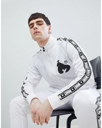 Money Stripe Tricot Track Top In White With Back Print