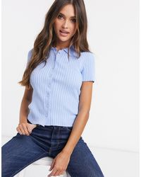 Monki Naimy Knitted Polo Top - Blue