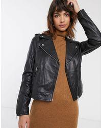 Warehouse Leather Biker Jacket - Black