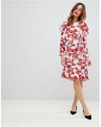 Y.A.S Midi-jurk Met Grafische Bloemenprint En Ruches - Rood