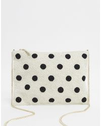 Accessorize Polka Dot Beaded Clutch With Chain - White