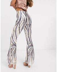 Club L London Sequin Flared Trousers - White