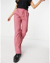Daisy Street High Waist Wide Leg Trousers - Red