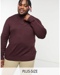 French Connection Plus Long Sleeve Polo - Red