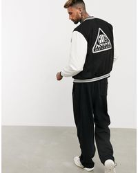 ASOS Varsity Bomber Jacket With Faux-leather Sleeves - Black