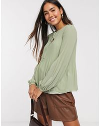 Warehouse Pleated Neck Tie Blouse - Green