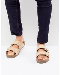 Eastland - Caleb Double Strap Suede Sandals In Beige - Lyst