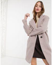 New Look Классическое Пальто Светло-серого Цвета Из Пряжи Букле -розовый