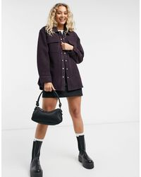 & Other Stories Wool Blend Oversize Shacket - Red