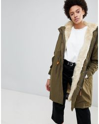 Parka London Connie Military Parka Coat With Faux Fur Lining - Green