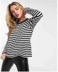 Monki Maja Organic Cotton Long-sleeved Stripe T-shirt - Black