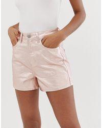 ASOS Denim Metallic A Line Mom Shorts - Pink