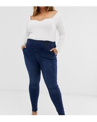 Simply Be High Waist Shaper jegging In Blue