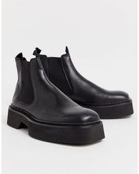 ASOS Черные Блестящие Кожаные Ботинки Челси С Квадратным Носком - Черный