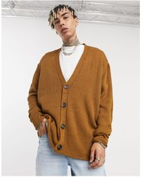 ASOS Knitted Oversized Textured Button Cardigan - Yellow