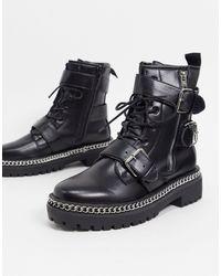 Truffle Collection Черные Ботинки С Пряжками -черный Цвет