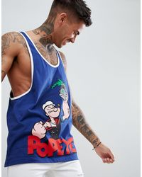 ASOS Popeye Extreme Racer Back Vest With Contrast Binding - Blue