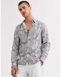 ASOS Regular Snakeskin Shirt - Grey