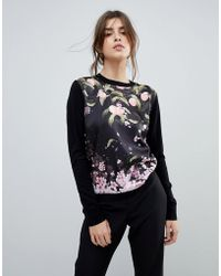 Ted Baker - Anthya Woven Front Jumper In Peach Blossom Print - Lyst